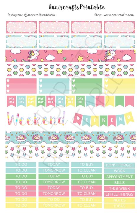kawaii stickers planner printable to do to go to buy to clean acp02 printable kawaii cute planner stickers unicorn