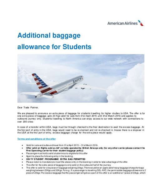 american airline baggage policy additional baggage allowance for student on american airlines