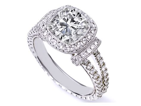 antique cushion cut engagement rings hd split band