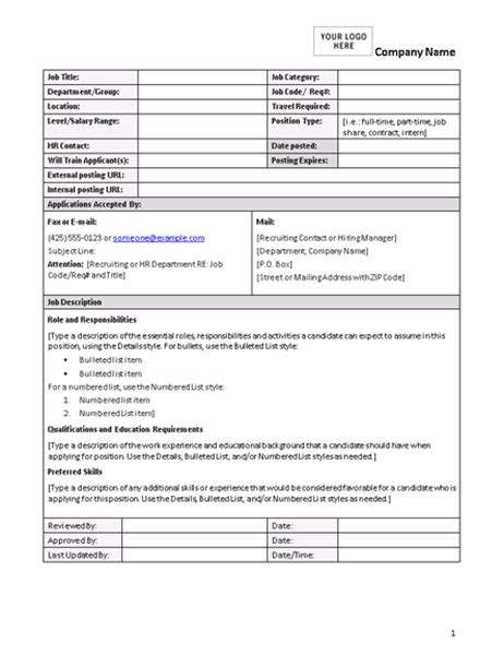 Job Description Form Employee Roles And Responsibilities Template Excel