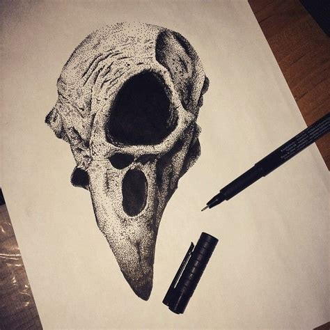 bird skull tattoo dessin draw sketch dotwork bird skull