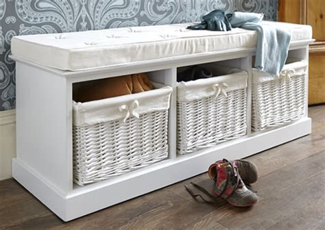 white bench with baskets white storage bench with baskets treenovation