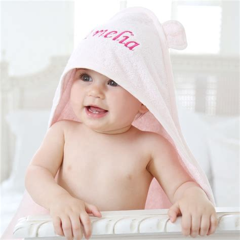 pink hooded baby towel baby bath my 1st years