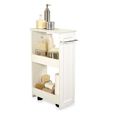 Bathroom Storage Shelf Units Zenna Home 174 Rolling Storage Bath Shelves In White Bed Bath Beyond