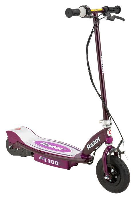 razor electric scooter with seat e100 razor trade e100 electric scooter purple