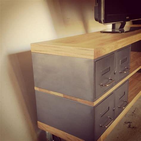 tiroirs sur mesure meuble tv en acier et bois industriel ch 234 ne ou 233 pic 233 a