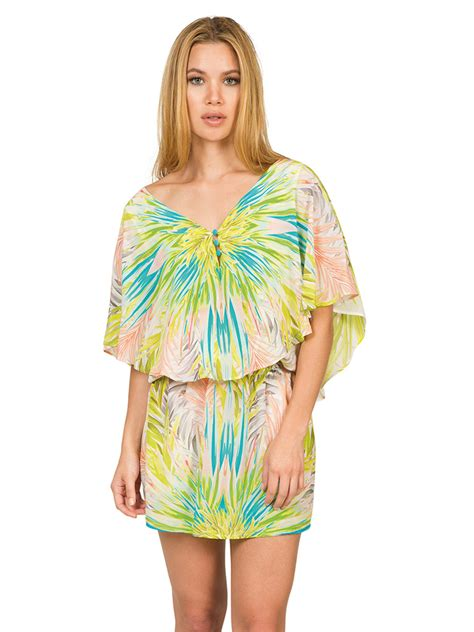 tropical pattern clothes caffe kaftan style silk mini dress tropical pattern