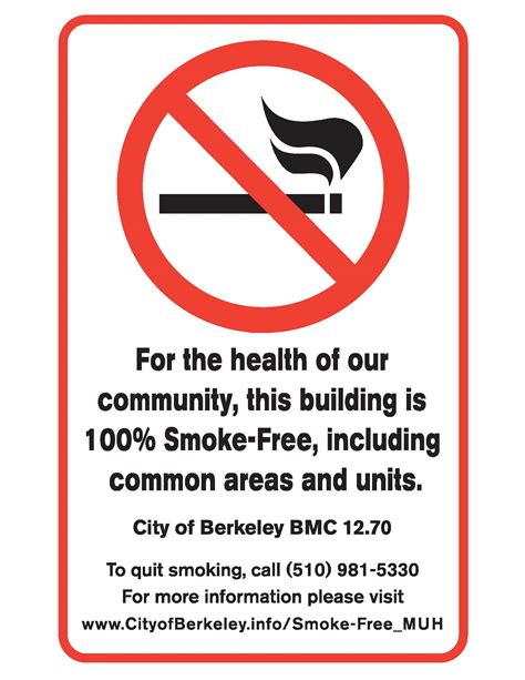 no smoking sign california smoke free muh city of berkeley ca