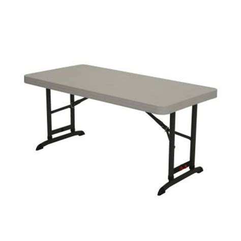 4 Foot Folding Table Lifetime 4 Ft Almond Commercial Adjustable Folding Table 80387 The Home Depot