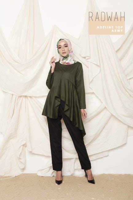 Tunik Mateial Bubblepop Mocca Quality radwah adeline top army maroon mocca mustard pink