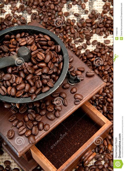 Coffee Beans No Grinder Coffe Beans And Grinder Royalty Free Stock Photo Image
