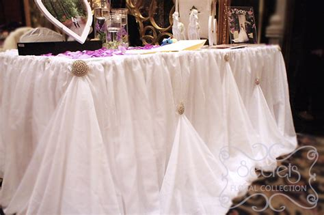 receiving table with cream voile cinderella skirting