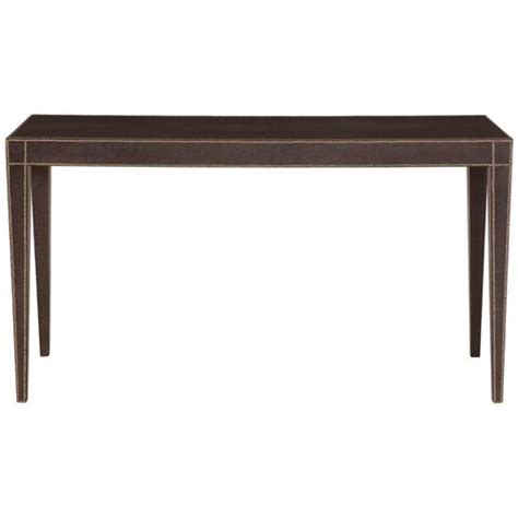 Leather Console Table Suki Regency Brown Crocodile Leather Console Table Kathy Kuo Home