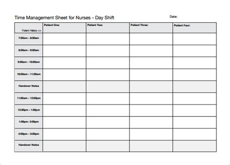 Nursing Time Management Template search results for hour by hour schedule sheet
