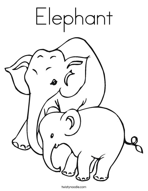 Elephant Coloring Page Twisty Noodle Elephant Colouring Page
