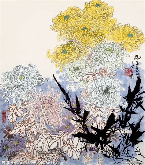 Hw K5 27 30 国画菊花设计图 绘画书法 文化艺术 设计图库 昵图网nipic