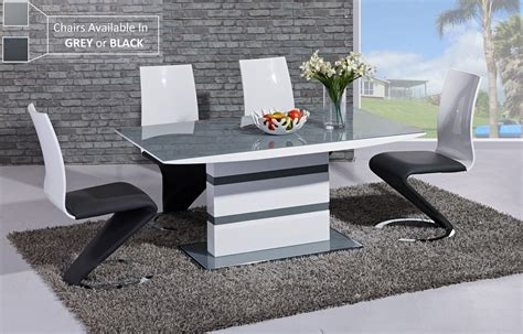 high gloss white table top grey glass white high gloss dining table and 6 chairs