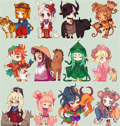 anime zodiac zodiacal chibi animal girls comics anime pinterest