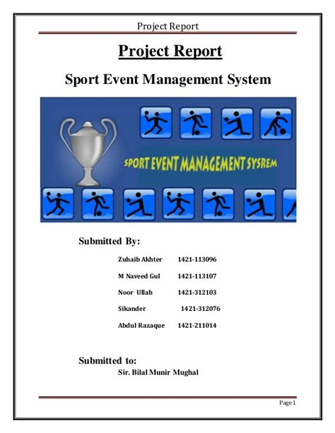 event design report sports event management system report