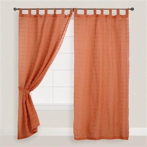 Burnt Orange Striped Sahaj Jute Tab Top Curtains Set Of 2