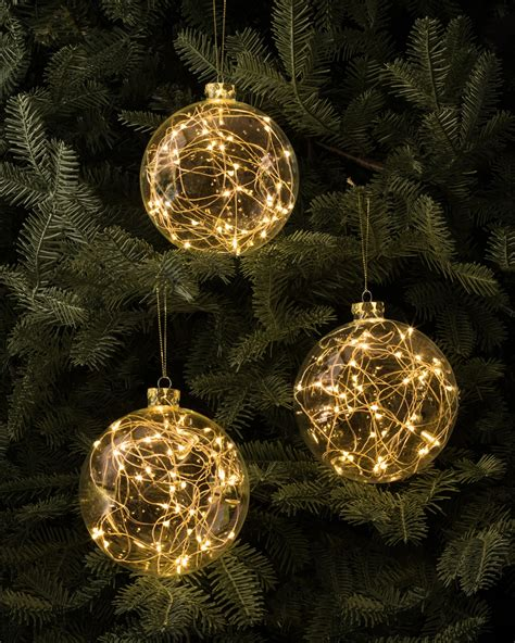 led fairy light ornaments set of 3 balsam hill australia