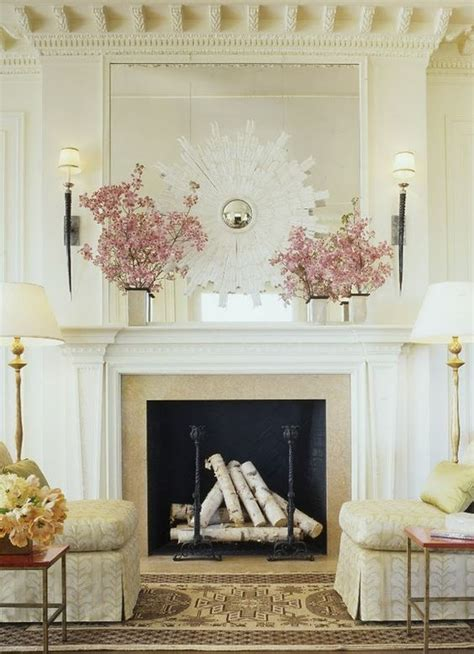 Birch Logs For Fireplace by Adore The White Sunburst Mirror And Arrangement Of Birch