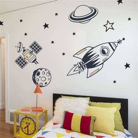 feature wall stickers bedroom wall stickers outer space feature pack by