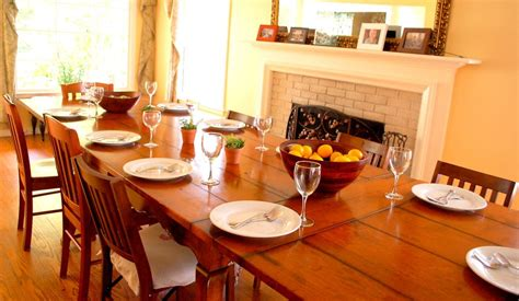 dining table in front of fireplace farmhouse dining table set for 10 in front of wood burning