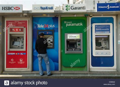 turkish bank istanbul turkish bank atm machines istanbul turkey stock photo