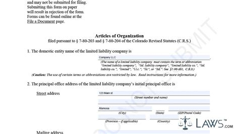 Articles Of Organization Llc Sle Youtube Articles Of Organization Arizona Llc Template