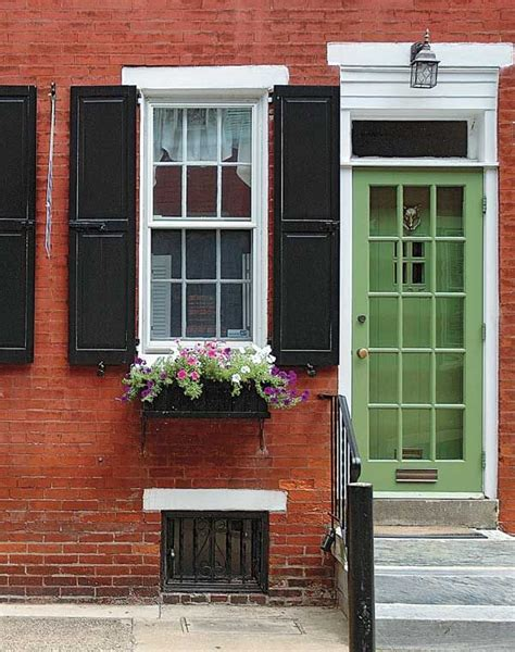 door accent colors for greenish gray love this brick black shutters with white accents green