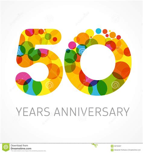 10 year anniversary color 50 years anniversary circle colored logo stock vector