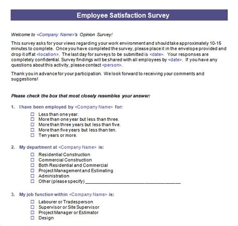 employee satisfaction survey template word employee satisfaction survey 15 free documents