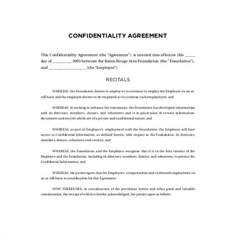 Secrecy Agreement Template by Confidentiality Agreement Templates 9 Free Word