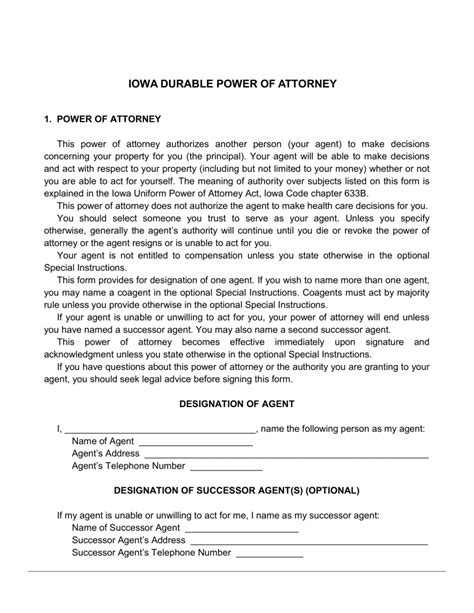 sle of durable power of attorney free iowa durable financial power of attorney form word pdf eforms free fillable forms