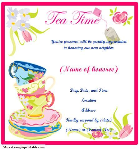tea invitations free template tea invitation printable tea invitation