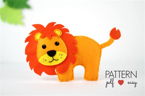 pattern in felt felt lion pattern lion sewing pattern lion pdf pattern