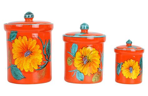 italian kitchen canisters asst of 3 italian kitchen canisters uptown found