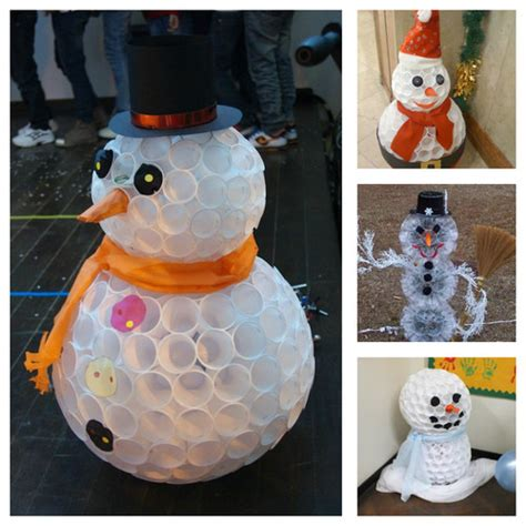 wonderful diy fun snowman from plastic cups christmas is