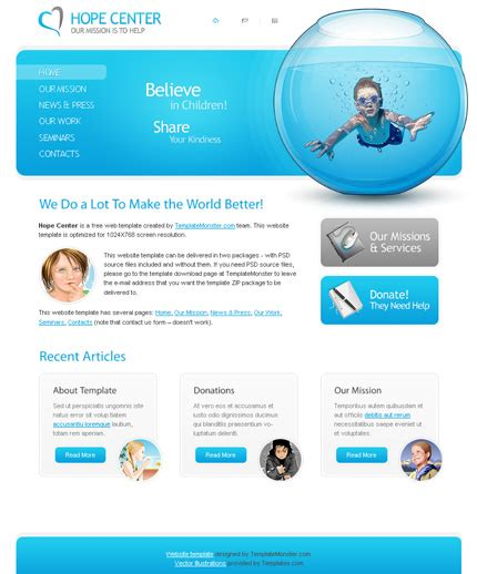 free charity website template psd template