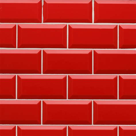 Easy To Clean Kitchen Backsplash Esl Metro Red Pillar Box Ceramic Wall Tile 10cm X 20cm