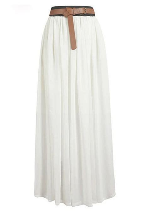 Floor Skirt by White High Waist Floor Length Chiffon Skirt Skirts
