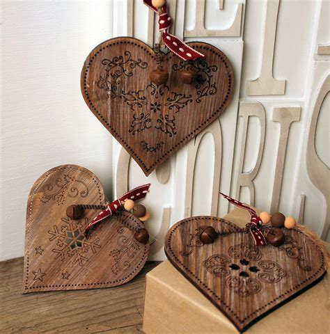 heart decorations home vintage wood heart decoration set of three by m 246 a design