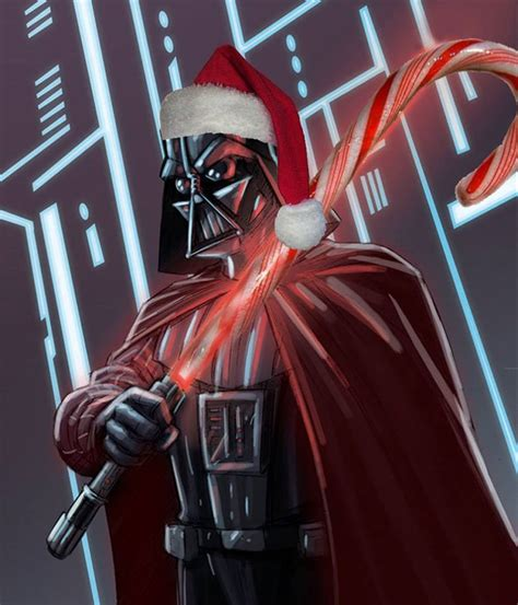 darth vader has a candy cane lightsaber star wars fan