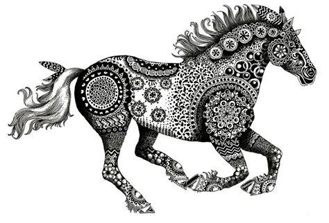 running horse zentangle mixed media ink  bristol