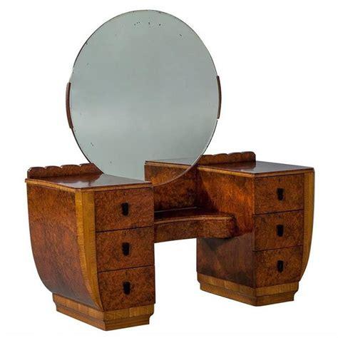art deco dresser round mirror burled wood art deco vanity with round mirror for sale at