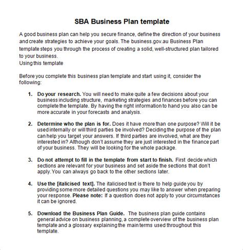 business plan document template sle sba business plan template 9 free documents in