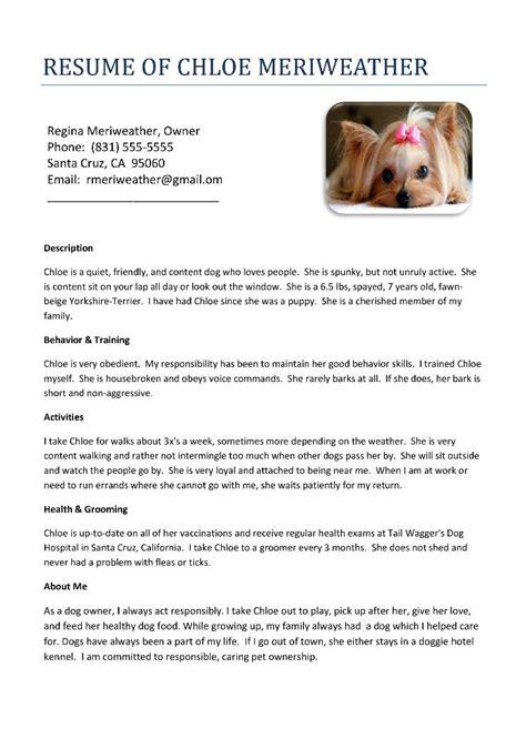 sample dog resume