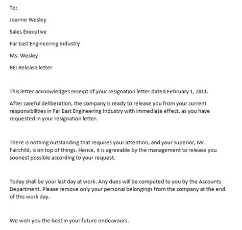 Release Letter From Company Format Letter Of Release From Employment Writing Professional Letters