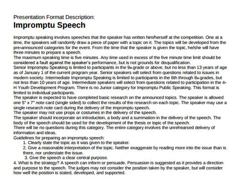 Sample Impromptu Speech Template   7  Free Documents in